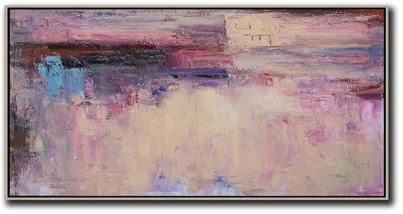 Horizontal Palette Knife Contemporary Art,Modern Wall Art Light Yellow,Purple,Pink,Brown