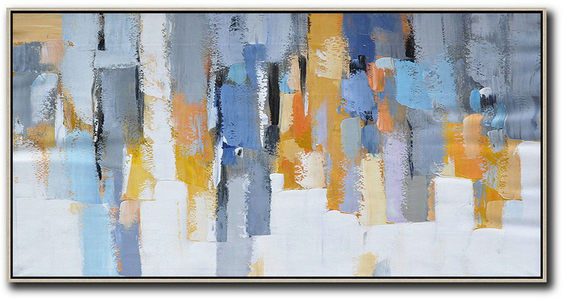 Horizontal Palette Knife Contemporary Art,Acrylic Painting Large Wall Art White,Grey,Orange,Yellow,Blue