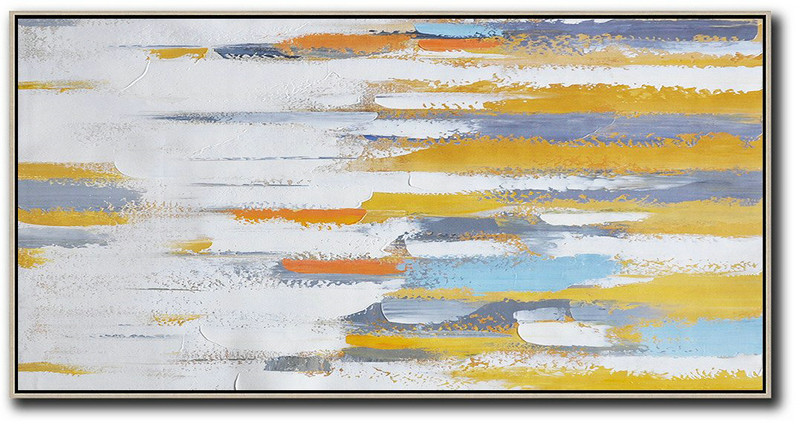 Horizontal Palette Knife Contemporary Art,Big Canvas Painting White,Yellow,Orange,Blue