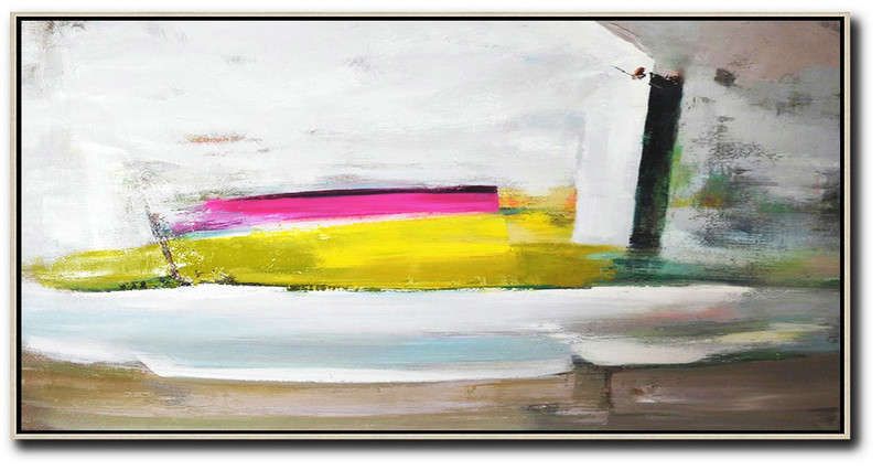 Horizontal Palette Knife Contemporary Art Panoramic Canvas Painting,Extra Large Artwork White,Brown,Yellow,Pink
