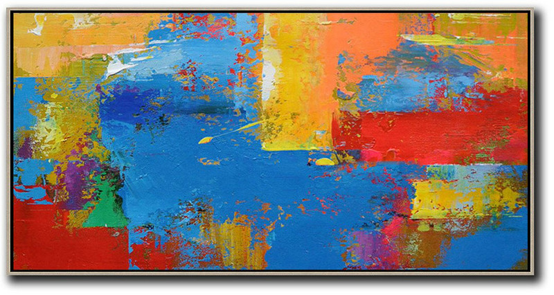 Horizontal Palette Knife Contemporary Art Panoramic Canvas Painting,Large Oil Canvas Art Blue,Yellow,Orange,Red