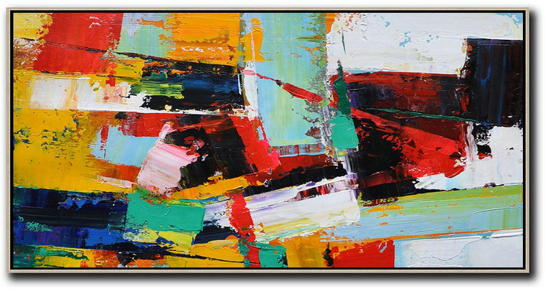 Horizontal Palette Knife Contemporary Art Panoramic Canvas Painting,Huge Canvas Art On Canvas White,Yellow,Red,Black