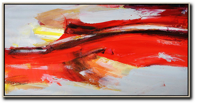 Horizontal Palette Knife Contemporary Art Panoramic Canvas Painting,Canvas Artwork For Sale Red,Grey,Yellow