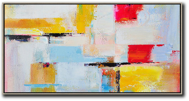 Horizontal Palette Knife Contemporary Art Panoramic Canvas Painting,Extra Large Paintings White,Blue,Yellow,Red