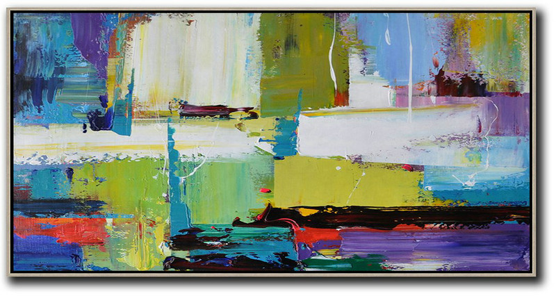 Horizontal Palette Knife Contemporary Art Canvas Painting,Large Canvas Wall Art For Sale Light Green,Purple,Grey,Yellow
