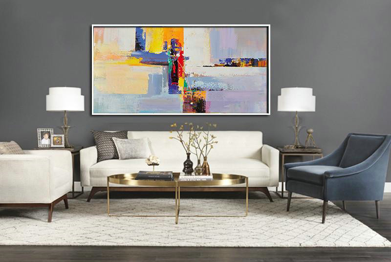 Horizontal Palette Knife Contemporary Art Panoramic Canvas Painting,Big Art Canvas White,Yellow,Purple,Red