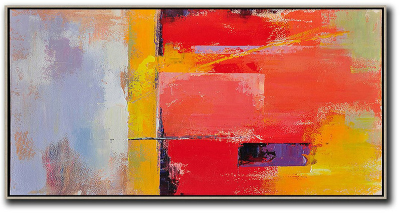 Horizontal Palette Knife Contemporary Art Panoramic Canvas Painting,Custom Canvas Wall Art Red,Yellow,Purple,Pink
