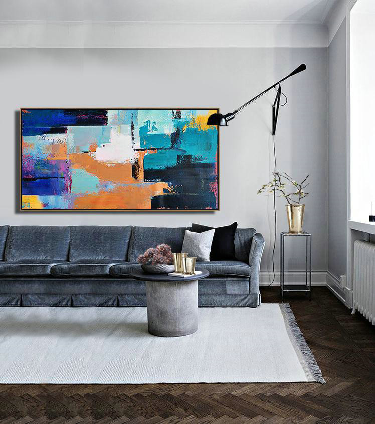 Horizontal Palette Knife Contemporary Art Panoramic Canvas Painting,Abstract Art On Canvas, Modern Art White,Lake Blue,Blue,Black,Earthy Yellow