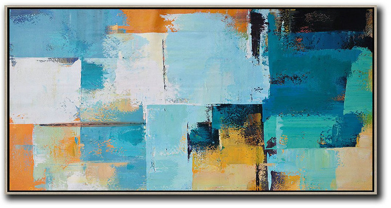 Horizontal Palette Knife Contemporary Art Panoramic Canvas Painting,Acrylic Painting Wall Art White,Blue,Yellow,Orange