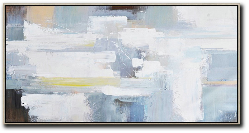 Horizontal Palette Knife Contemporary Art Panoramic Canvas Painting,Large Abstract Art Handmade Acrylic Painting White,Grey,Yellow,Brown
