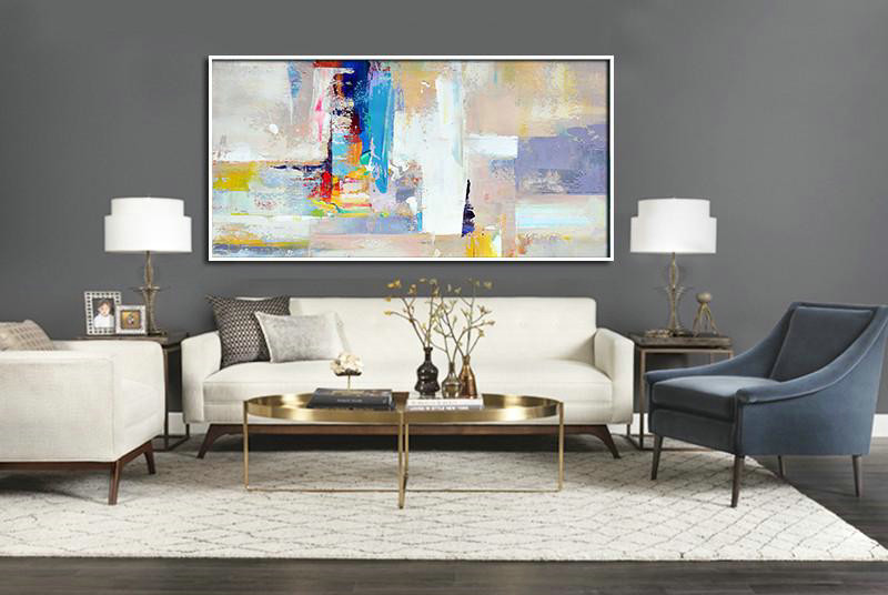 Horizontal Palette Knife Contemporary Art Panoramic Canvas Painting,Large Colorful Wall Art Grey,White,Blue,Purple