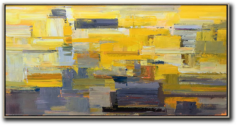 Horizontal Palette Knife Contemporary Art Panoramic Canvas Painting,Art Work Yellow,Grey,Brown,White