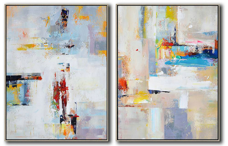 Set Of 2 Contemporary Art On Canvas,Abstract Art Decor,Contemporary Painting White,Purple,Red,Grey,Yellow