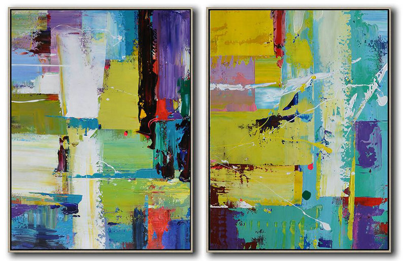 Set Of 2 Contemporary Art On Canvas,Abstract Artwork Online Yellow,Purple,White,Blue