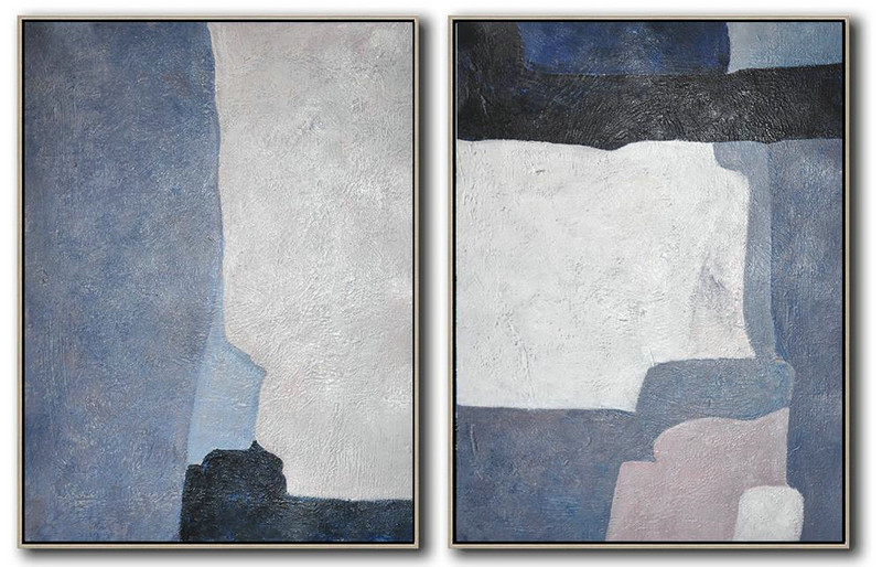 Set Of 2 Contemporary Art On Canvas,Abstract Painting For Home White,Grey,Dark Blue,Black