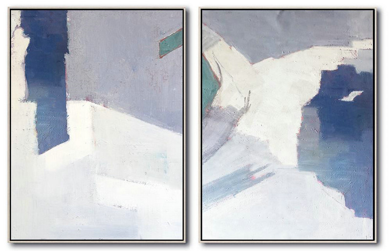 Set Of 2 Contemporary Art On Canvas,Abstract Oil Painting Blue,White,Gray