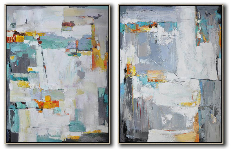 Set Of 2 Contemporary Art On Canvas,Abstract Paintings On Sale White,Grey,Yellow