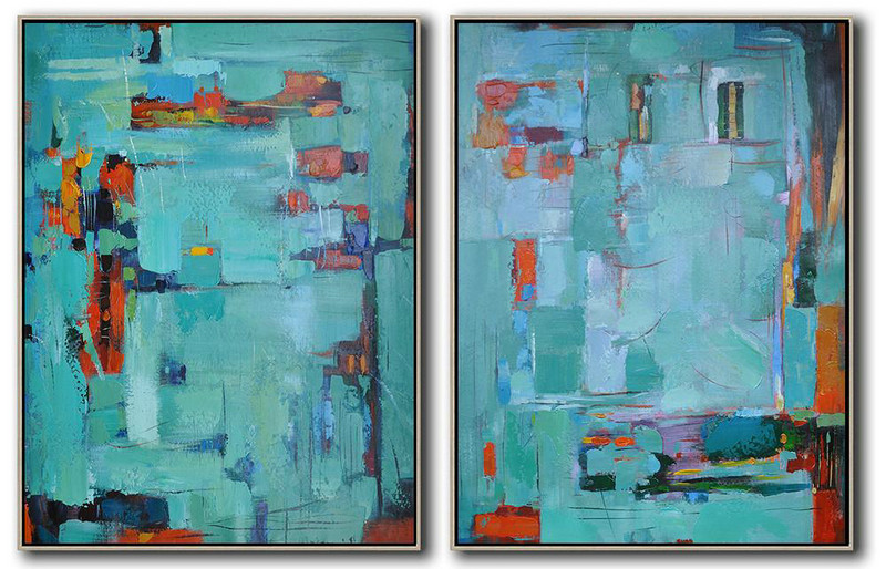 Set Of 2 Contemporary Art On Canvas,Art Work Green,Red,Orange