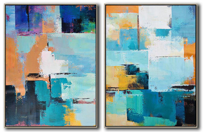 Set Of 2 Contemporary Art On Canvas,Acrylic Minimailist Painting Blue,Yellow,Sky Blue,White,Beige