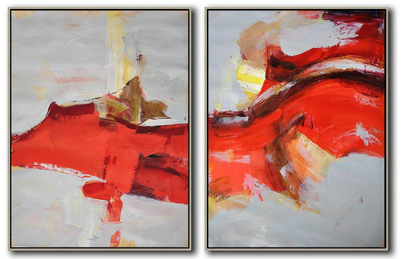 Set Of 2 Contemporary Art On Canvas,Acrylic Painting On Canvas Grey,Red,Brown