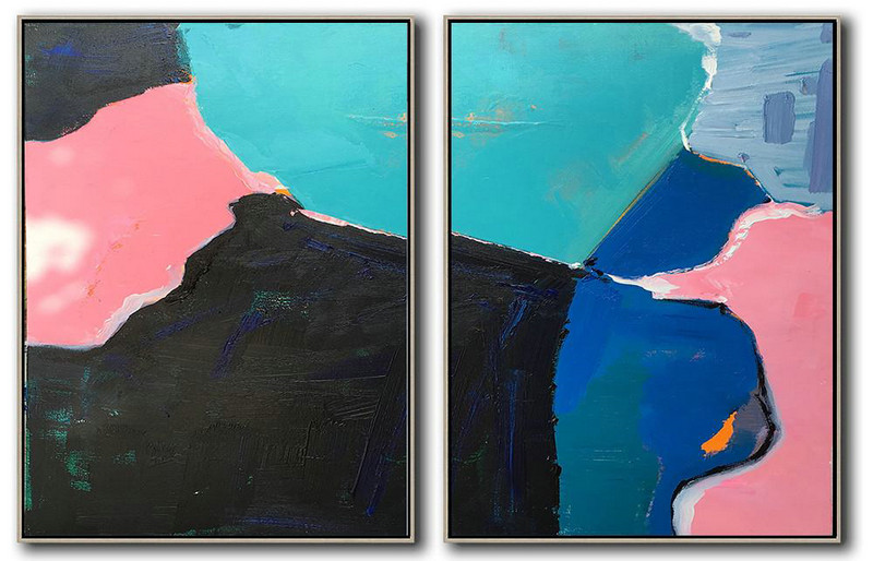 Set Of 2 Contemporary Art On Canvas,Acrylic Painting On Canvas Pink,Black,Blue,White