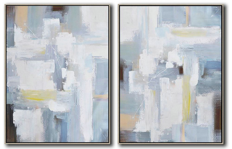 Set Of 2 Contemporary Art On Canvas,Big Painting White,Grey,Light Blue
