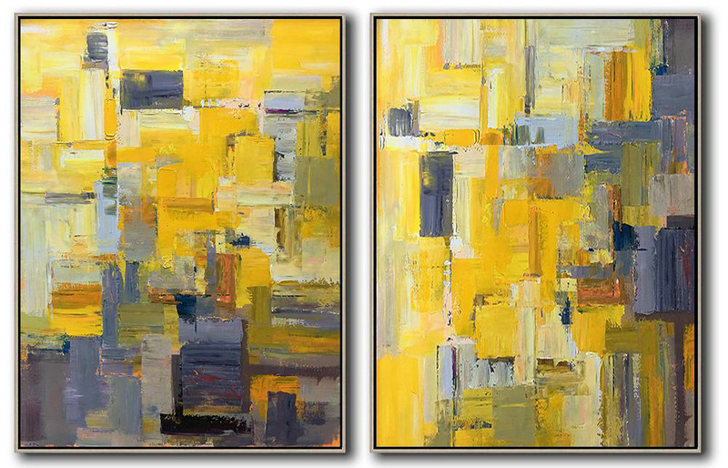 Set Of 2 Contemporary Art On Canvas,Hand Paint Large Clean Modern Art Yellow,Grey,Brown,White