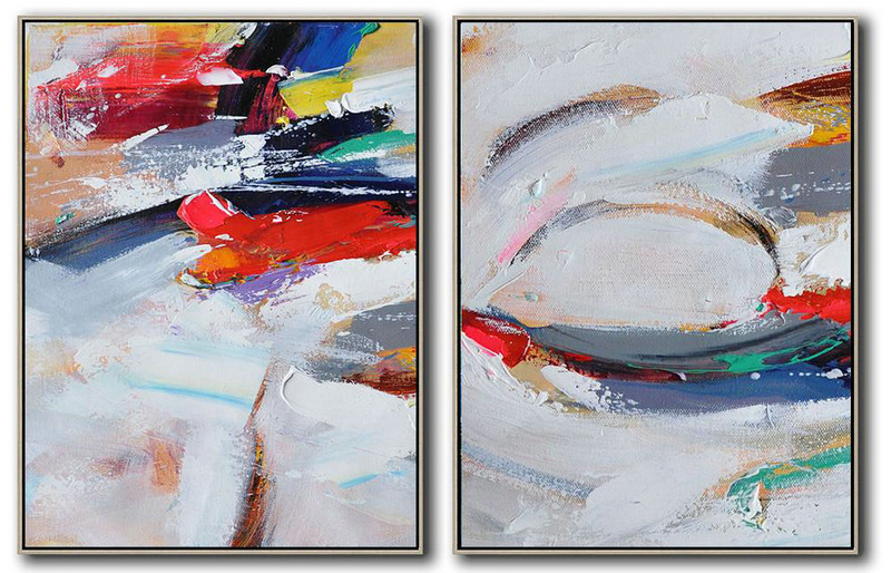 Set Of 2 Contemporary Art On Canvas,Hand Paint Large Art Red,White,Purple,Grey
