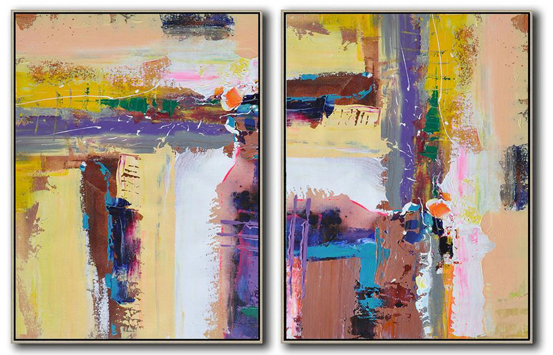 Set Of 2 Contemporary Art On Canvas,Acrylic On Canvas Abstract Yellow,Purple,Grey,White,Brown