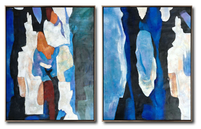 Set Of 2 Contemporary Art Black And White Abstract Art