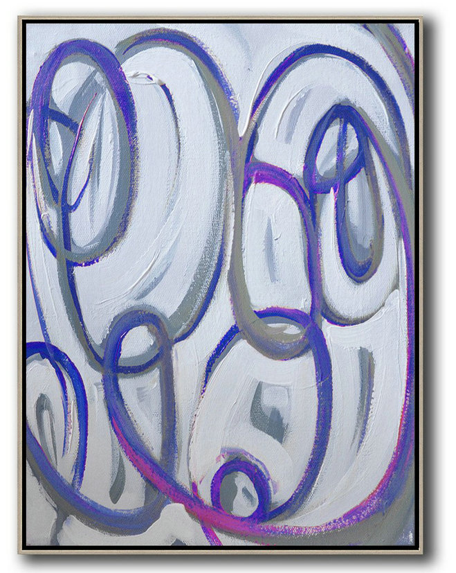 Vertical Contemporary Art,Original Art Acrylic Painting Blue,White,Pink,Purple