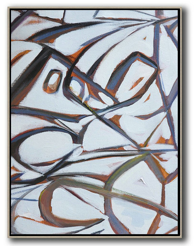 Vertical Contemporary Art,Oversized Canvas Art White,Purple,Grey