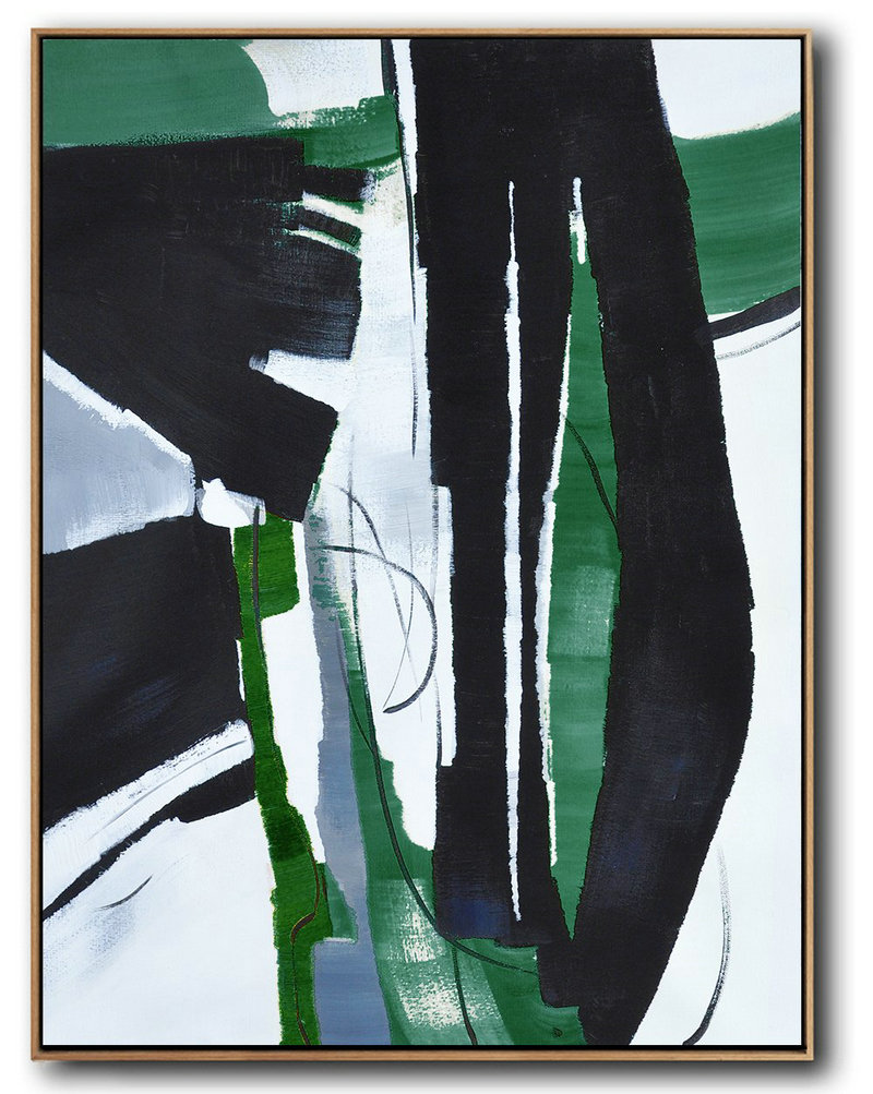 Hand Painted Large Vertical Contemporary Painting On Canvas,Huge Abstract Canvas Art Black,Dark Green,White