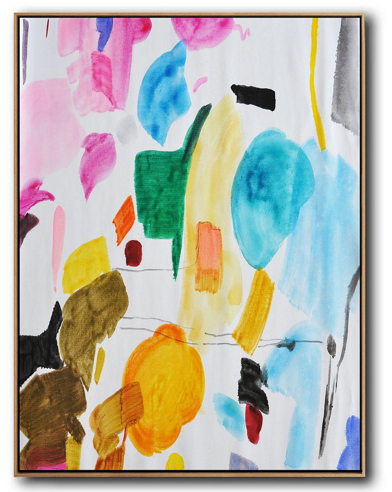 Hand Painted Large Vertical Contemporary Painting On Canvas,Colorful Wall Art Pink,Yellow,Sky Blue,Green,Black,Brown