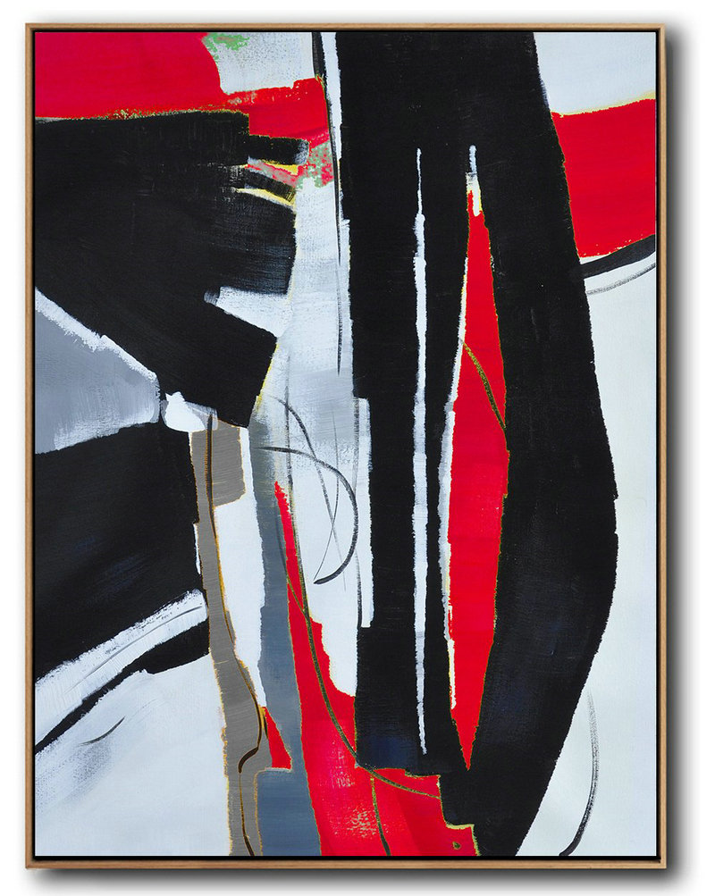 Hand Painted Large Vertical Red Contemporary Painting On Canvas,Wall Art Ideas For Living Room Black,White,Red,Grey,Pale Blue