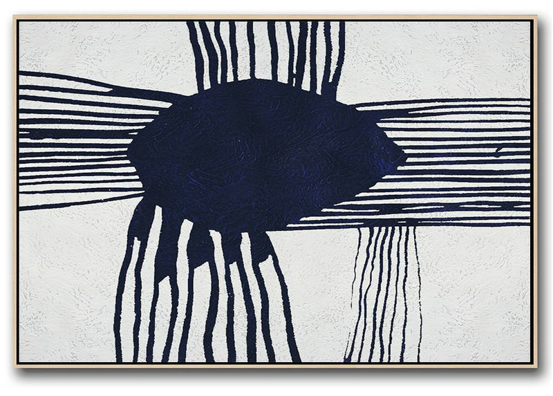 Horizontal Abstract Painting Navy Blue Minimalist Painting On Canvas,Large Wall Art Canvas #S2H0