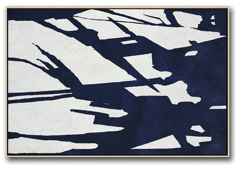 Horizontal Abstract Painting Navy Blue Minimalist Painting On Canvas,Abstract Art On Canvas #A5R8