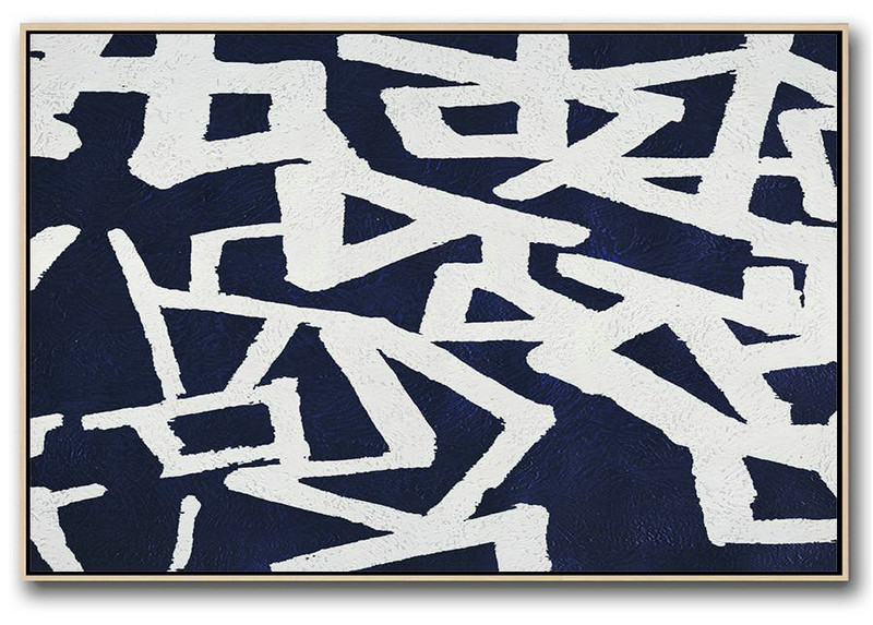 Horizontal Abstract Painting Navy Blue Minimalist Painting On Canvas,Large Wall Canvas #P9O2