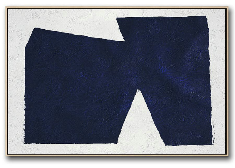 Horizontal Abstract Painting Navy Blue Minimalist Painting On Canvas,Huge Canvas Art On Canvas #C5M0