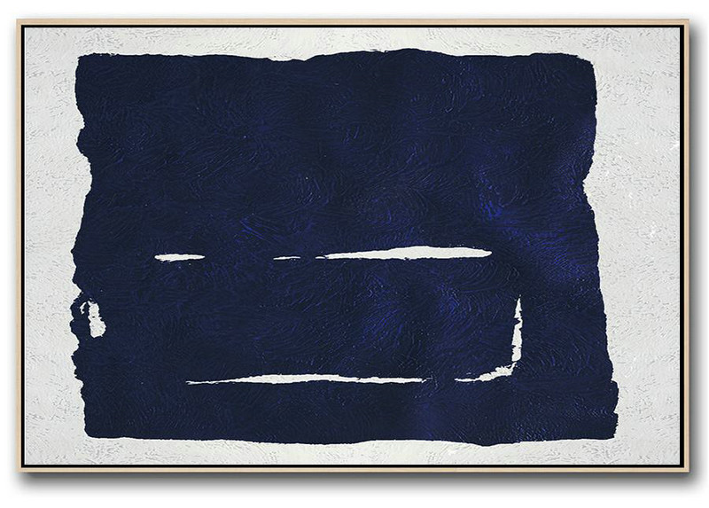 Horizontal Abstract Painting Navy Blue Minimalist Painting On Canvas,Huge Abstract Canvas Art #C9Q5
