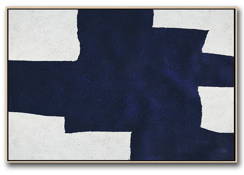 Horizontal Abstract Painting Navy Blue Minimalist Painting On Canvas,Acrylic Painting Large Wall Art #X6M8