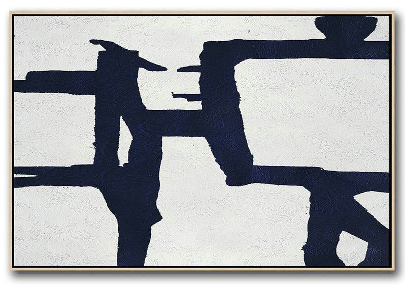 Horizontal Abstract Painting Navy Blue Minimalist Painting On Canvas,Big Canvas Painting #S0Q1