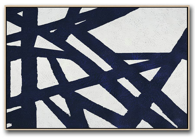 Horizontal Abstract Painting Navy Blue Minimalist Painting On Canvas,Extra Large Artwork #L1T8