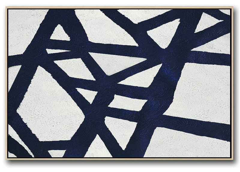 Horizontal Abstract Painting Navy Blue Minimalist Painting On Canvas,Abstract Art Decor Large Canvas Painting #A0L9