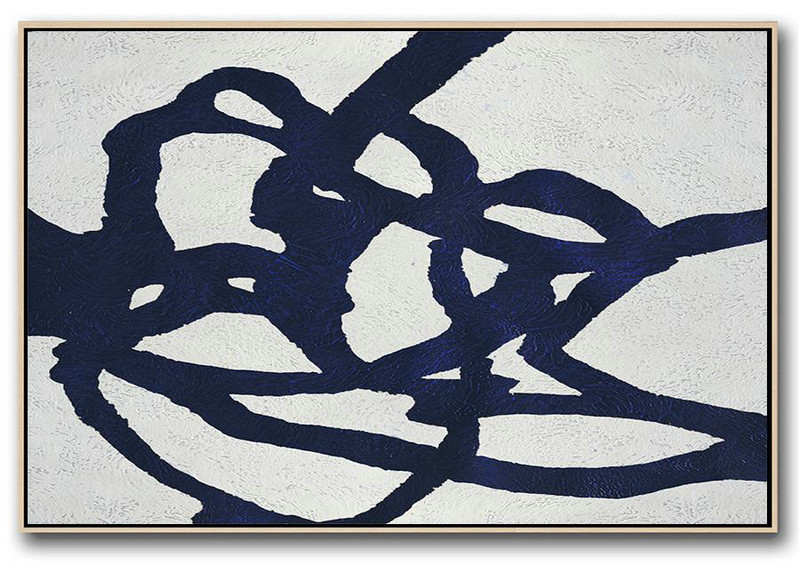 Horizontal Abstract Painting Navy Blue Minimalist Painting On Canvas,Canvas Wall Paintings #L6X9