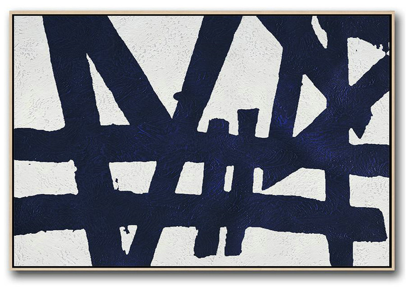 Horizontal Abstract Painting Navy Blue Minimalist Painting On Canvas,Abstract Painting On Canvas #X3Q6