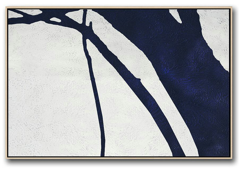 Horizontal Abstract Painting Navy Blue Minimalist Painting On Canvas,Modern Painting Abstract #I6H2