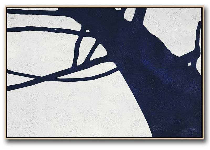 Horizontal Abstract Painting Navy Blue Minimalist Painting On Canvas,Modern Living Room Decor #J6Q4