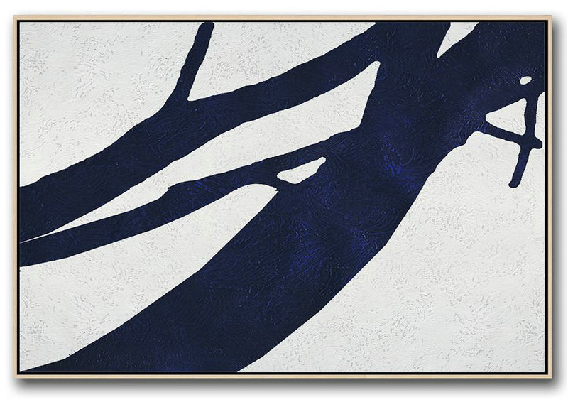 Horizontal Abstract Painting Navy Blue Minimalist Painting On Canvas,Custom Oil Painting #K5A9
