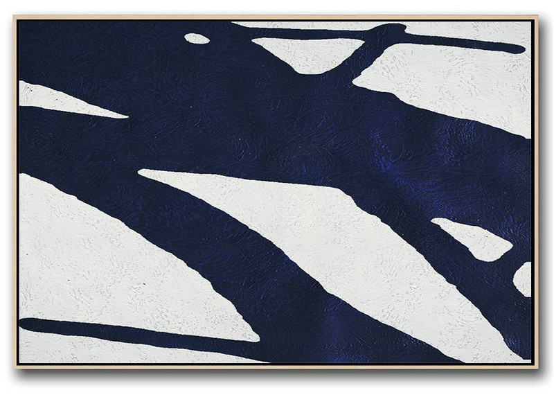 Horizontal Abstract Painting Navy Blue Minimalist Painting On Canvas,Contemporary Canvas Paintings #Y5S2